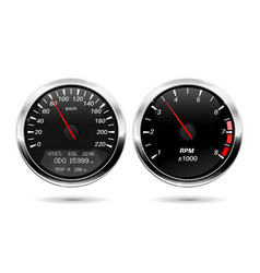 Speedometer tachometer black gauge with chrome vector