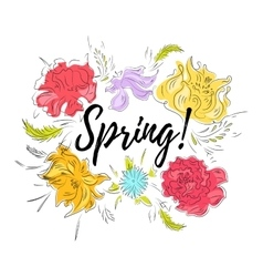 Spring flowers card vector image vector image