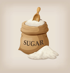 Sugar with scoop in burlap sack vector