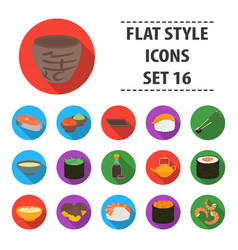Sushi set icons in flat style big collection vector