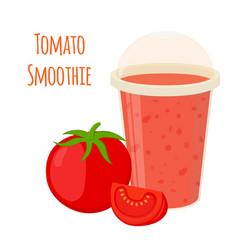 Tomato smoothie tomato juice in flat style vector