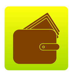 wallet sign brown icon at vector image