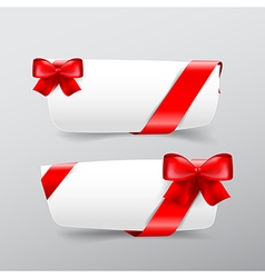 042 collection of white tag banner with red ribbon vector