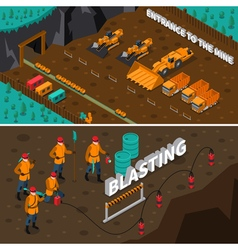 Miner people isometric banners vector