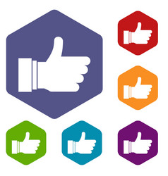 thumb up sign icons set vector image