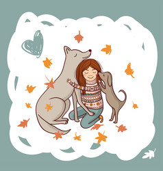 Girl with dogs in autumn vector