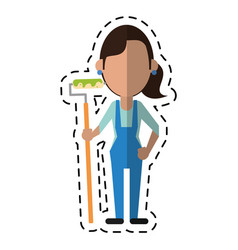 cartoon painter woman with overalls and roller vector image