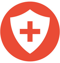 Cross on a shield within a circle icon vector