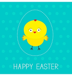 Easter chicken and dash egg dot pattern card vector