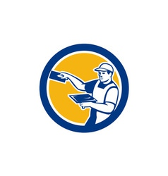 Plasterer with trowel circle retro vector