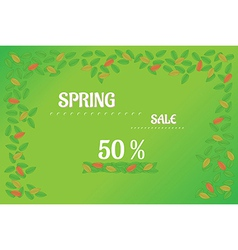Spring sale background with leaves vector