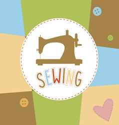 Background with sewing machine vector
