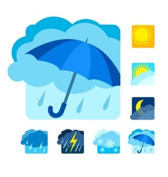 Weather icons set flat vector