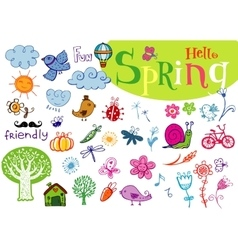 Hello spring doodle hand-drawn set vector