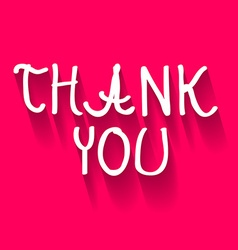Thank you hand written title on pink background vector