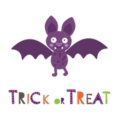 Halloween card with cute little bat vector