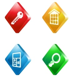 Real estate glass transparent color icon set vector