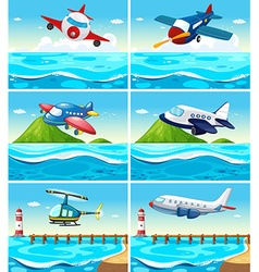 Airplanes and helicopters over the ocean vector