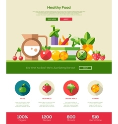 Flat design fruits and vegetables website header vector