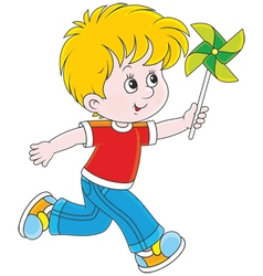 Boy with a whirligig vector