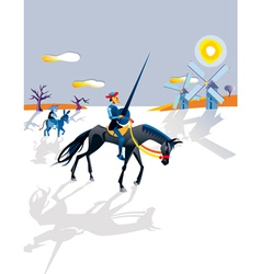 Don quijote and windmills vector