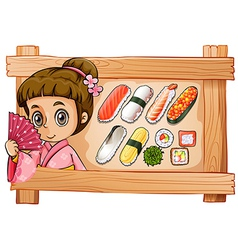 A frame with a girl and the different flavors of vector image