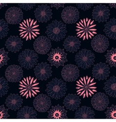 Beautiful line dark flowers vector image vector image