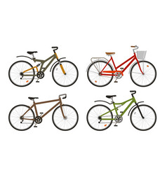 bike bicycle set icons cycling transport vector image vector image