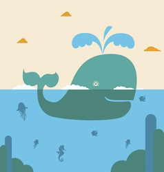 Blue whale and blue sea vector