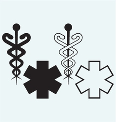 Caduceus medical sign vector