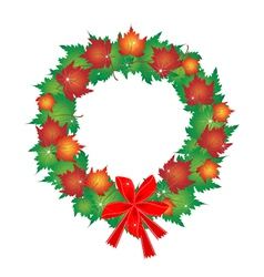 Christmas wreath of maple leaves and red bows vector