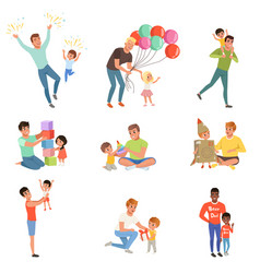 Fathers playing and enjoying good quality time vector