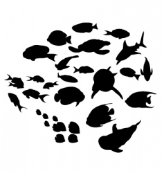 fish silhouettes collection vector image