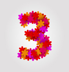 Floral numbers colorful flowers number 3 vector