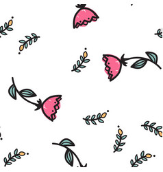 hand drawn red flowers seamless pattern vector image vector image