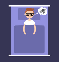 insomnia conceptual young nerd lying in the bed vector image
