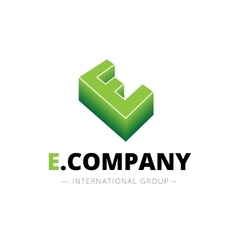 isometric gradient E letter logo Company vector image