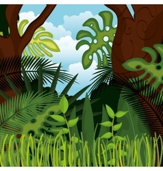 jungle landscape background isolated icon design vector image vector image