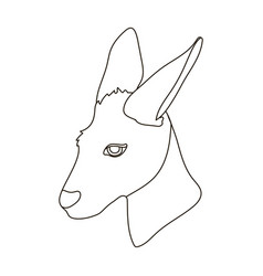 Kangaroo icon in outline style isolated on white vector