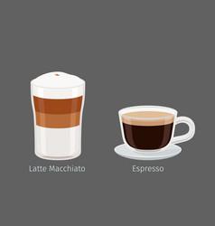 latte macchiato and espresso coffee vector image vector image