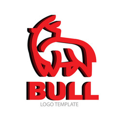 Linear stylized drawing of bull vector