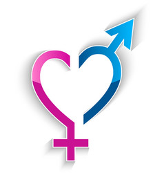 male and female sex symbol heart shape concept vector image vector image