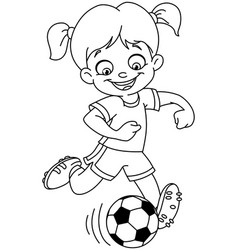 Outlined soccer girl vector