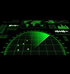 radar screen with futuristic user interface hud vector image