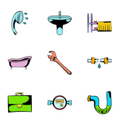 Sanitary icons set cartoon style vector