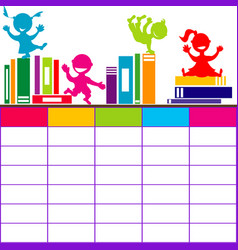 school timetable with books and cartoon kids vector image vector image