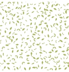 Seamless pattern with many green leaves on white vector image