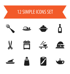 Set of 12 editable cooking icons includes symbols vector