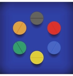 Set of colorful pills vector