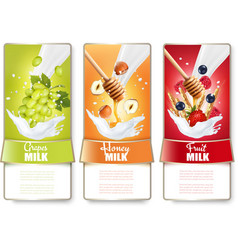Set of three labels of fruit and berries in milk vector